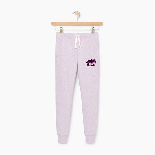 Roots-Kids Bottoms-Girls Slim Cuff Sweatpant-Lupine Mix-A