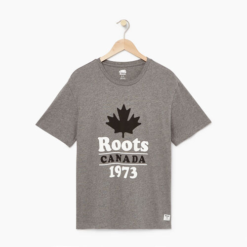 Roots-Men Graphic T-shirts-Mens Summer Camp T-shirt-Med Grey Mix-A