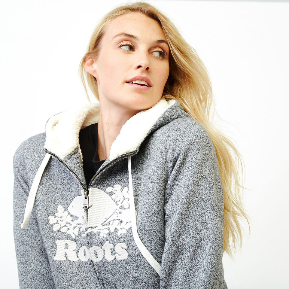 Roots-Women Clothing-Sherpa-lined Hoody-Salt & Pepper-E