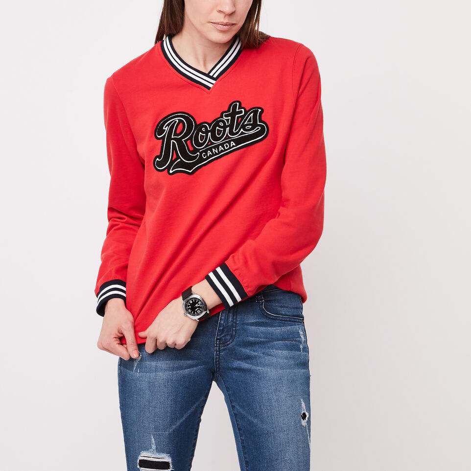 Roots-undefined-Varsity Chenille V-neck Sweatshirt-undefined-A