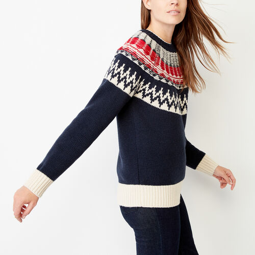 Roots-Winter Sale Women-Tundra Fair Isle Sweater-Navy Blazer-A