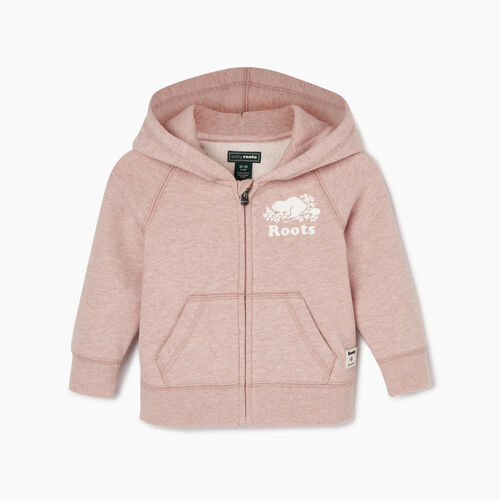 Roots-Kids Baby-Baby Original Full Zip Hoody-Deauville Mauve Mix-A
