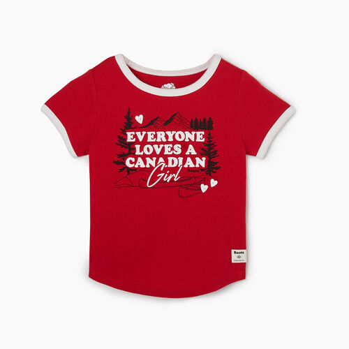 Roots-Kids Tops-Toddler Canadian Girl T-shirt-Sage Red-A