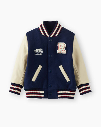 Roots-Leather Men's Award Jackets-Toddler Boys Award Jacket-Navy-A