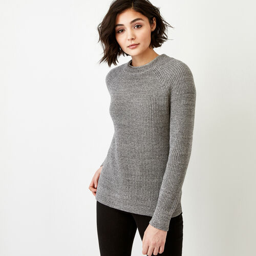 Roots-Women Sweaters & Cardigans-Yukon Crew Sweater-Medium Grey Mix-A