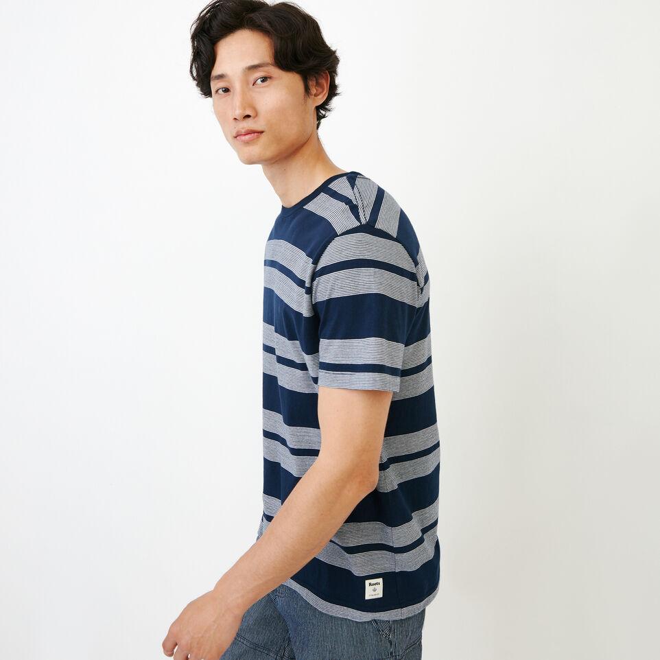 Roots-Men Our Favourite New Arrivals-Mercer Striped T-shirt-Navy Blazer-C