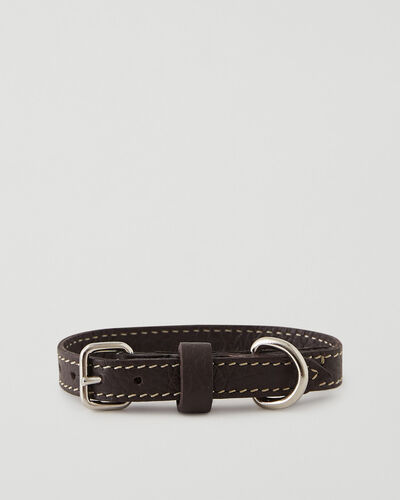 Roots-Leather Dog Accessories-Extra Small Leather Dog Collar Parisian-Ébène-A