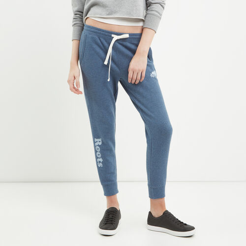 Roots-Women Cropped Sweatpants-Busted Cooper Crop Sweatpant-Force Blue Mix-A