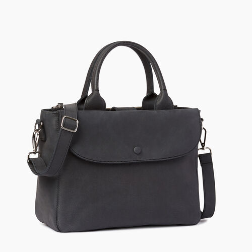 Roots-Leather  Handcrafted By Us Collections-Riverdale Tote-Jet Black-A