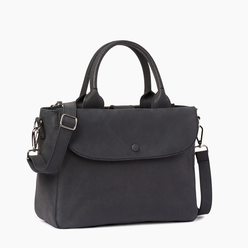 Roots-Clearance Leather-Riverdale Tote-Jet Black-A
