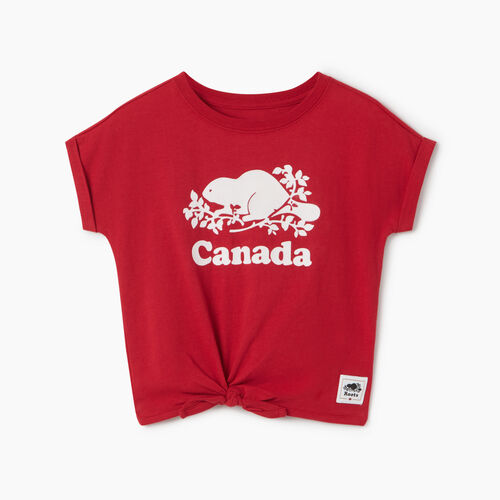 Roots-Kids Tops-Toddler Canada Tie T-shirt-Sage Red-A