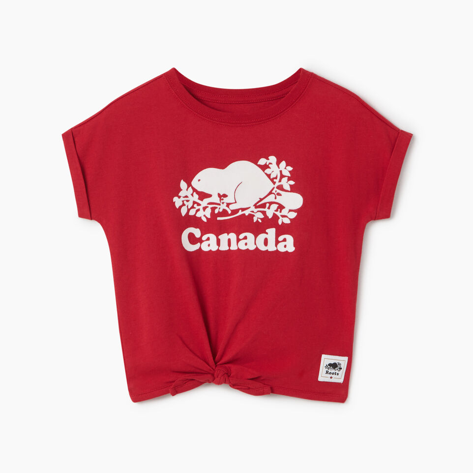 Roots-Kids Canada Collection-Toddler Canada Tie T-shirt-Sage Red-A