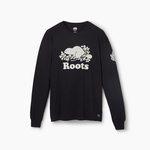 Roots-New For May City Collection-Banff Long Sleeve T-Shirt - Mens-Black-A