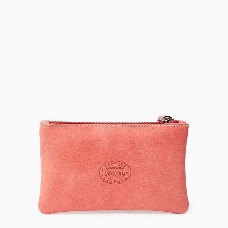 Roots-Leather New Arrivals-Medium Zip Pouch-Coral-B
