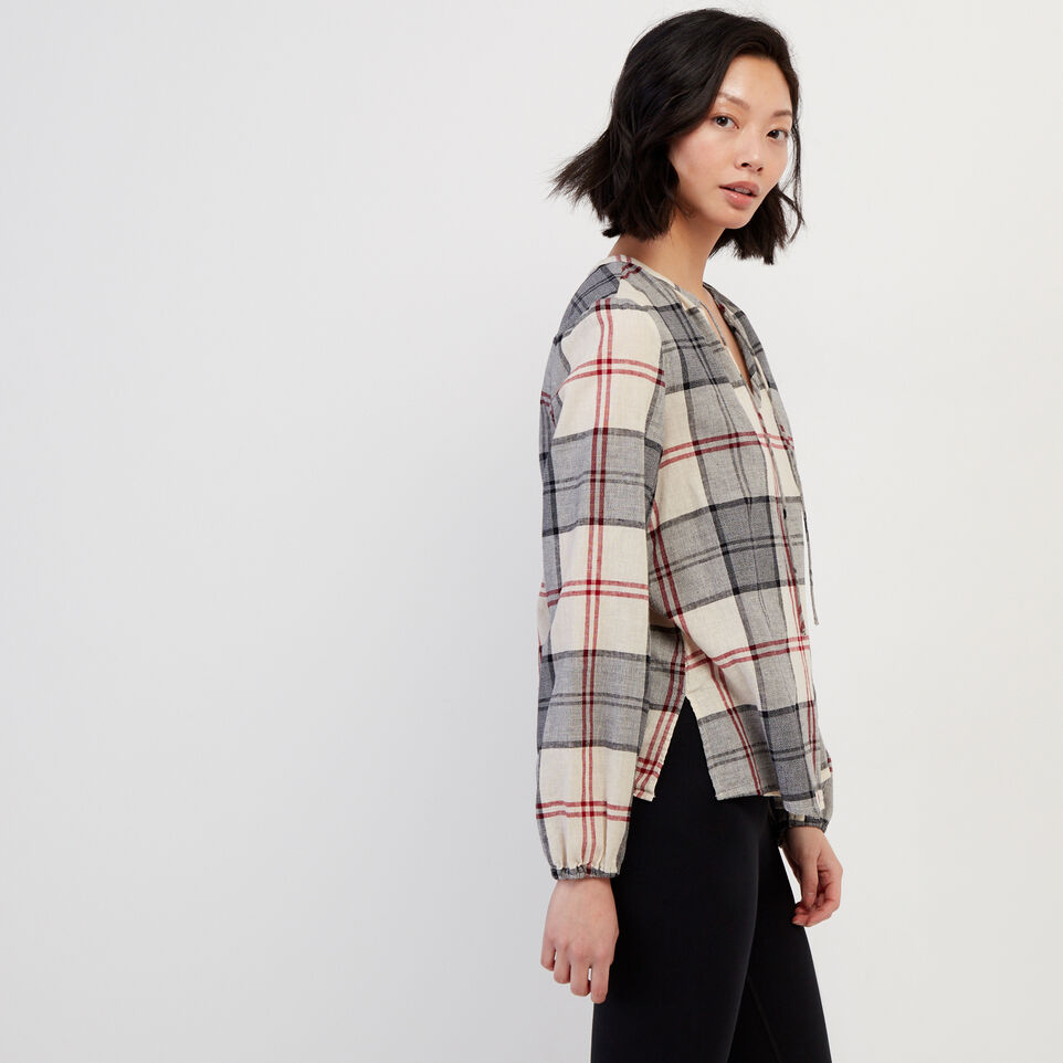 Roots-undefined-Smoke Lake Plaid Peasant Top-undefined-C