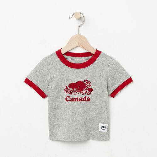 Roots-Kids Collections-Baby Cooper Canada Ringer T-shirt-Grey Mix-A