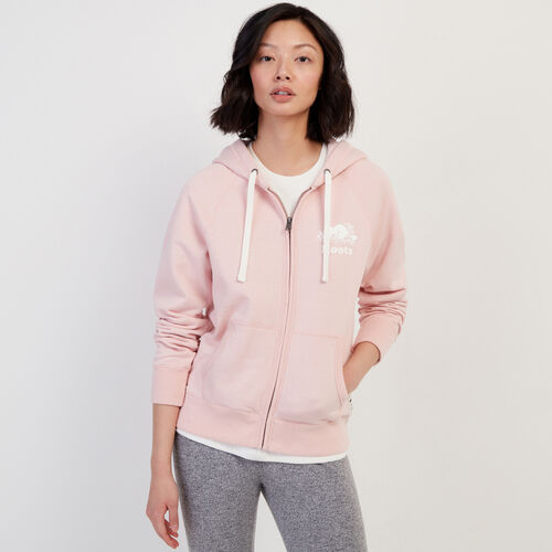 Roots-Women Bestsellers-Original Full Zip Hoody-Silver Pink Pepper-A