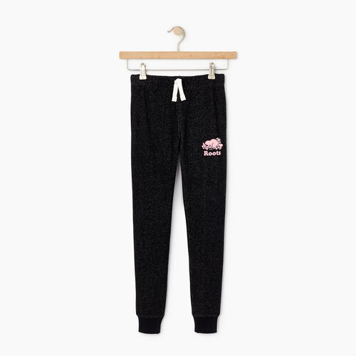 Roots-Kids Bottoms-Girls Slim Cuff Sweatpant-Black Pepper-A