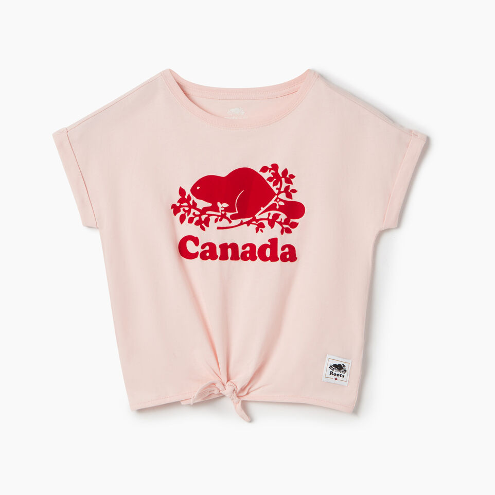 Roots-Kids Canada Collection-Girls Canada Tie T-shirt-English Rose-A