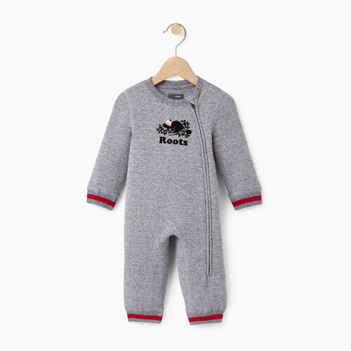 Roots-Gifts Buddy The Beaver-Baby Buddy Romper-Salt & Pepper-A