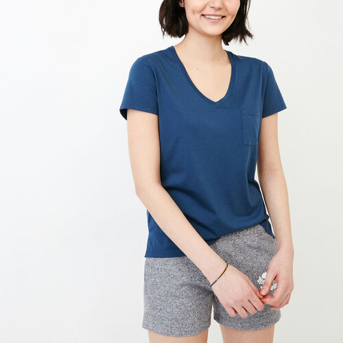 Roots-Women Short Sleeve Tops-Rennie Pocket Top-Sargasso Sea-A