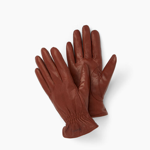 Roots-Leather  Handcrafted By Us Leather Accessories-Womens Classic Nappa Glove-Brown-A
