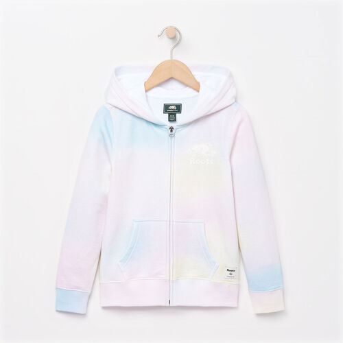 Roots-Clearance Kids-Girls Watercolour Full Zip Hoody-Ivory-A