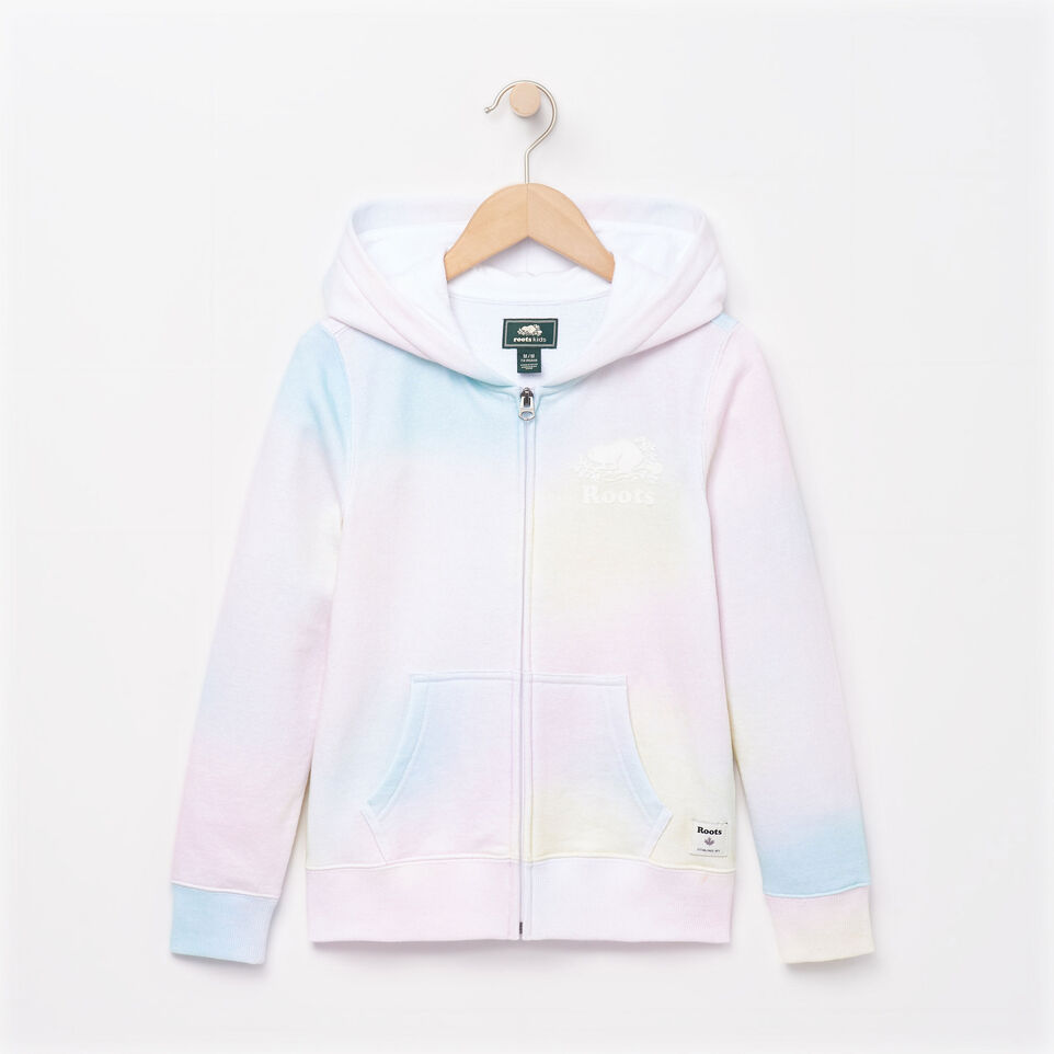Roots-Kids Our Favourite New Arrivals-Girls Watercolour Full Zip Hoody-Ivory-A