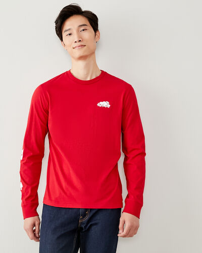 Roots-Men New Arrivals-Mens Cooper Remix Long Sleeve T-shirt-Sage Red-A