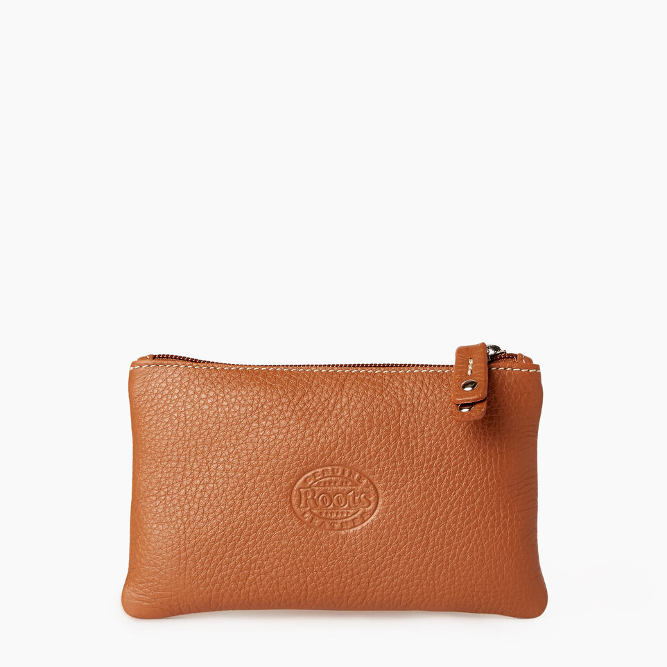 Roots-Leather Our Favourite New Arrivals-Medium Zip Pouch-Caramel-C