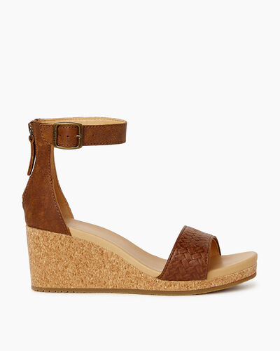 Roots-Sale Footwear-Womens Cranston Ankle Strap Wedge-Natural-A