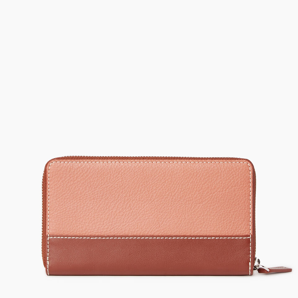 Roots-Leather Categories-Zip Around Wallet-Canyon Rose/oak-C
