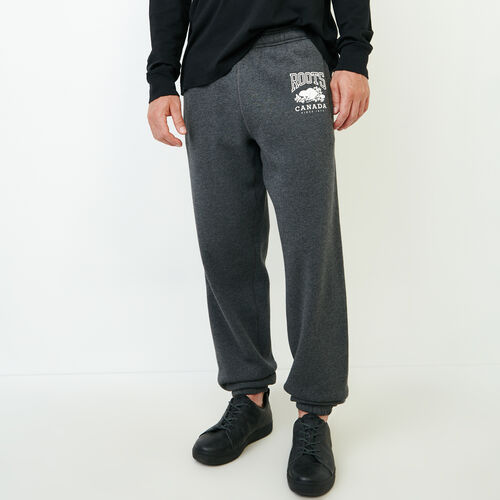 Roots-Men Bottoms-Classic Relaxed Sweatpant-Charcoal Mix-A