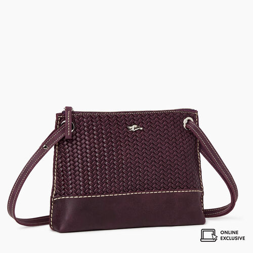 Roots-Leather Crossbody-Edie Bag Woven-Deep Purple-A