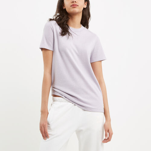 Roots-Women Short Sleeve Tops-Perfect Peppered T-shirt-Thistle Pepper-A