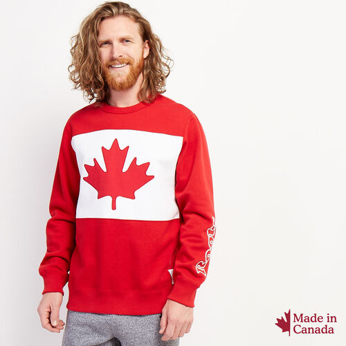 Roots-New For October Canada Collection By Roots™-Blazon Crew Sweatshirt-Sage Red-A