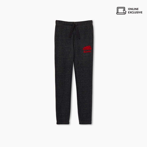 Roots-Kids Bottoms-Girls Heritage Plaid Sweatpant-Black Pepper-A