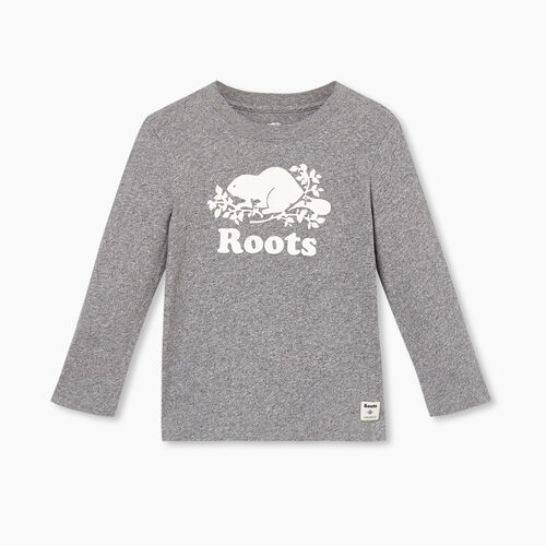 Roots-Kids T-shirts-Toddler Original Cooper Beaver T-shirt-Salt & Pepper-A