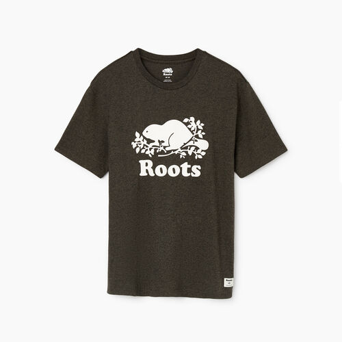 Roots-Men Tops-Mens Cooper Beaver T-Shirt-Loden Pepper-A