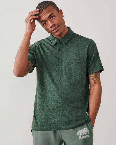 Roots-Men Shirts & Polos-Jersey Peppered Polo-Camp Green Pepper-A