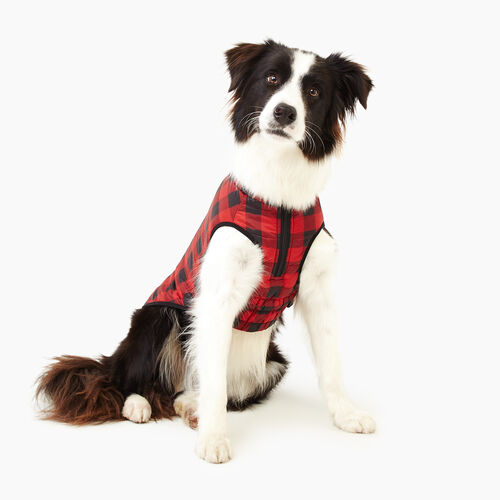 Roots-New For November Men-Pooch Park Plaid Puffer Size 20-Red-A