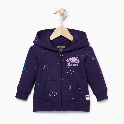 Roots-Clearance Kids-Baby Splatter Full Zip Hoody-Eclipse-A