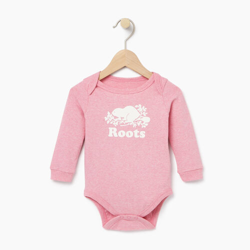 Roots-Kids Baby-Baby Cooper Beaver Bodysuit-Sea Pink Mix-A