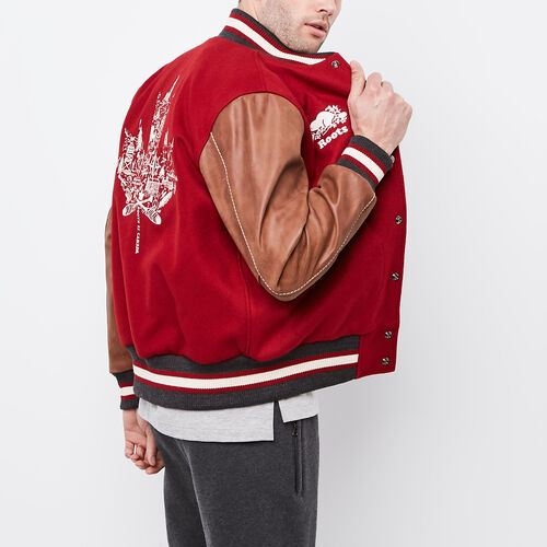 Roots-Leather Men's Award Jackets-Canada Award Jacket-Red-A
