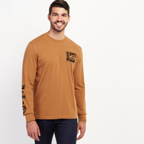 Roots-Men New Arrivals-Mens Double Stacked Long Sleeve T-shirt-Treehouse Brown-A