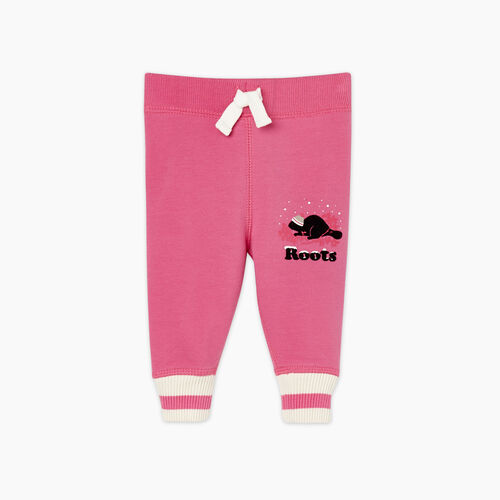 Roots-Gifts Buddy The Beaver-Baby Buddy Cozy Fleece Sweatpant-Carmine Rose-A