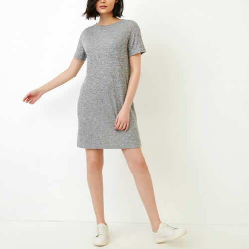 Roots-Women Collections-Laurena Boxy Dress-Salt & Pepper-A