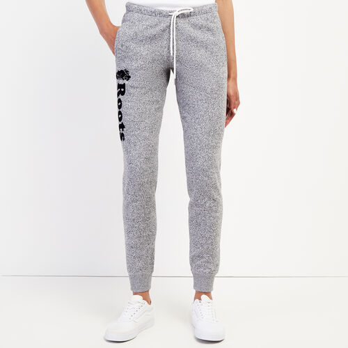 Roots-Women Slim Sweatpants-Remix Slim Cuff Sweatpant-Salt & Pepper-A