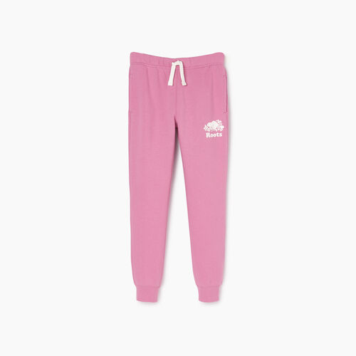Roots-Kids Bottoms-Girls Slim Cuff Sweatpant-Mauve Orchid-A