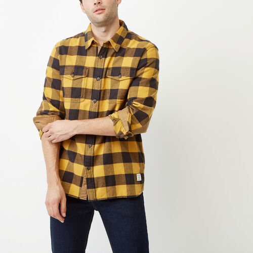 Roots-Men Our Favourite New Arrivals-Park Plaid Shirt-Squash Yellow-A